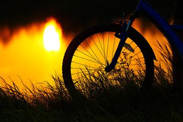 bike on the sunset background.