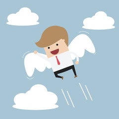 Businessman flying with wings