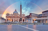 Fototapety Vatican - Saint Peter's square with rainbow, Rome.