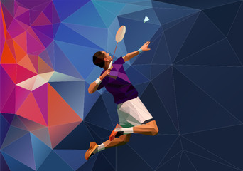 Abstract triangle polygon style male badminton player