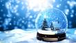 Leinwanddruck Bild - Christmas Snow globe Snowflake with Snowfall on Blue Background