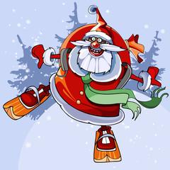 cheerful Santa Claus on skis flies