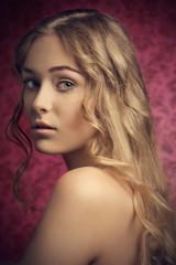close-up of sensual blonde girl