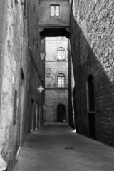 Siena, Tuscany, old city. BW image