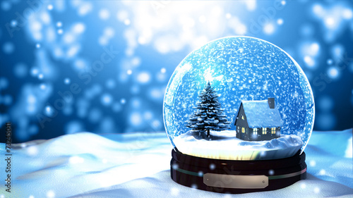 Christmas Snow globe Snowflake with Snowfall on Blue Background - 73245041