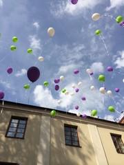 globos sobre cielo azul