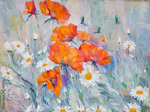 oil painting, flowers, poppies