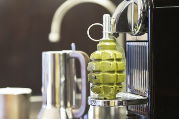 Grenade on a Coffee Machine