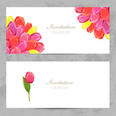 invitation cards with a tulips for your design