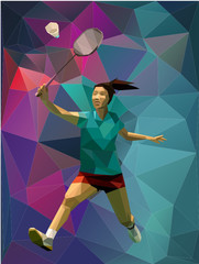 Low poly triangle girl badminton player