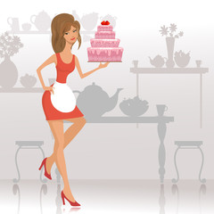 beautiful woman with a cake in the restaurant