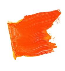 orange grunge brush strokes oil paint isolated on white