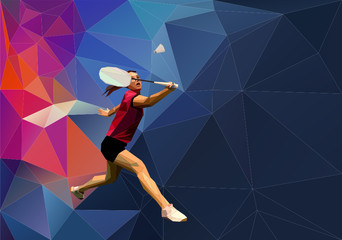 Triangle low poly badminton player