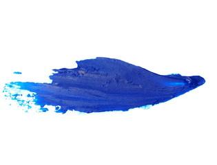 blue grunge brush strokes oil paint isolated on white