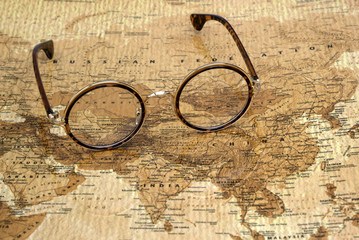 Glasses on a map of a world - Russia
