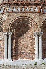 wall with columns and arches in Venice, Italy
