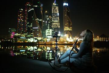 hookah night city lights
