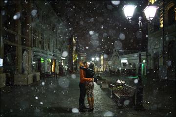 couple in Paris in the autumn
