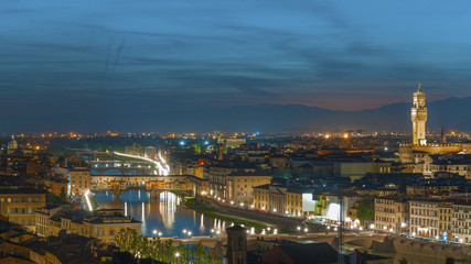 Florence city during sunset. Panoramic view to the river Arno