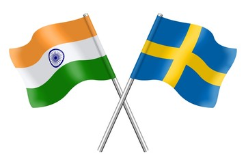 Flags: India and Sweden