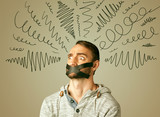Young man with glued mouth and curly lines poster