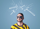 Young man with glued eye and hammer marks poster