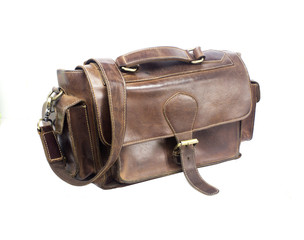 Brown vintage valise isolated on a white background