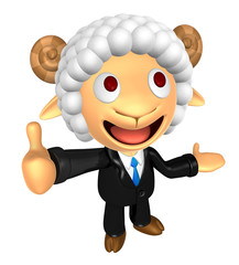 3D Business Sheep mascot the left hand guides and the right hand