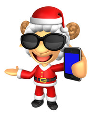 Wear sunglasses 3D Santa Sheep Mascot the left hand guides and t