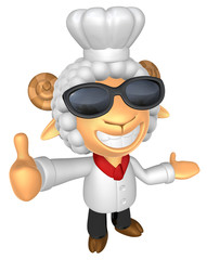 Wear sunglasses 3D Chef Sheep mascot the left hand guides and th