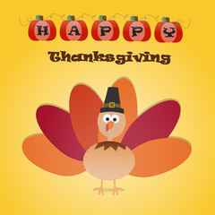 Happy Thanksgiving background with turkey chicken