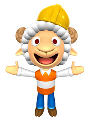 3D Construction site Sheep Mascot has been welcomed with both ha