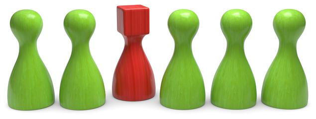 3d spielfigur grün rot