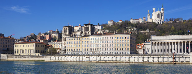 Panoramic view of Lyon with Saone river
