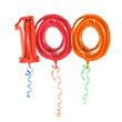 Rote Luftballons mit Geschenkband - Nummer 100 - 73247671
