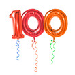 Leinwandbild Motiv Rote Luftballons mit Geschenkband - Nummer 100