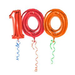 Rote Luftballons mit Geschenkband - Nummer 100