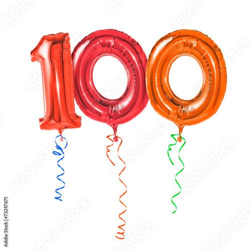 Foto op Aluminium Uitvoering Rote Luftballons mit Geschenkband - Nummer 100