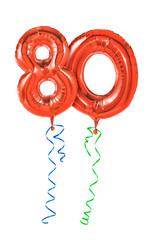 Rote Luftballons mit Geschenkband - Nummer 80