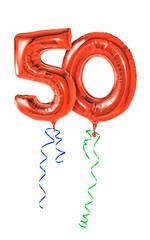 Rote Luftballons mit Geschenkband - Nummer 50