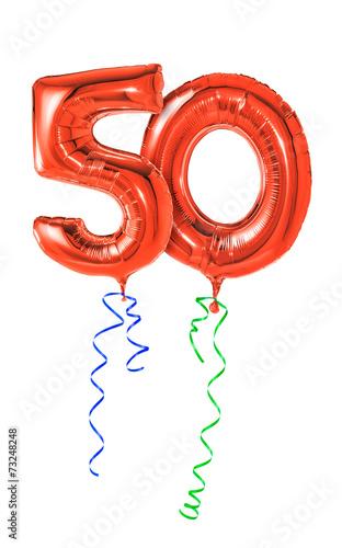 Rote Luftballons mit Geschenkband - Nummer 50 - 73248248