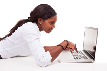 African American woman using a laptop - Black people