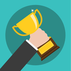 Vector of Hand Holding a Trophy ,winning in business
