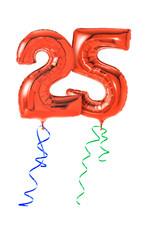Rote Luftballons mit Geschenkband - Nummer 25