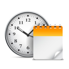 Big clock and calendar with blank page.