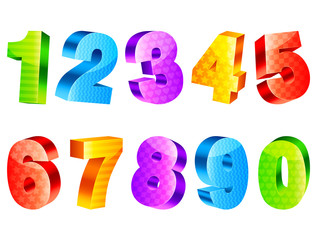 Collection of 10 colorful three-dimensional numbers.