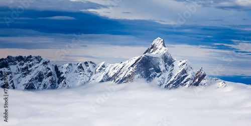 Foto op Aluminium Europese Plekken The Dent d'Hérens is a mountain in the Pennine Alps, lying on t
