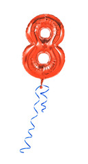 Roter Luftballon mit Geschenkband - Nummer 8