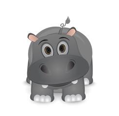 cute cartoon isolated hippo illustration
