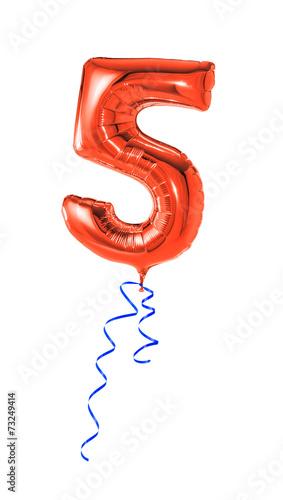 Roter Luftballon mit Geschenkband - Nummer 5
